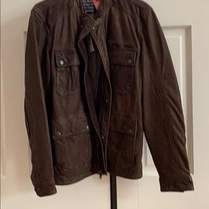 Men's brown leather jacket lucky brand